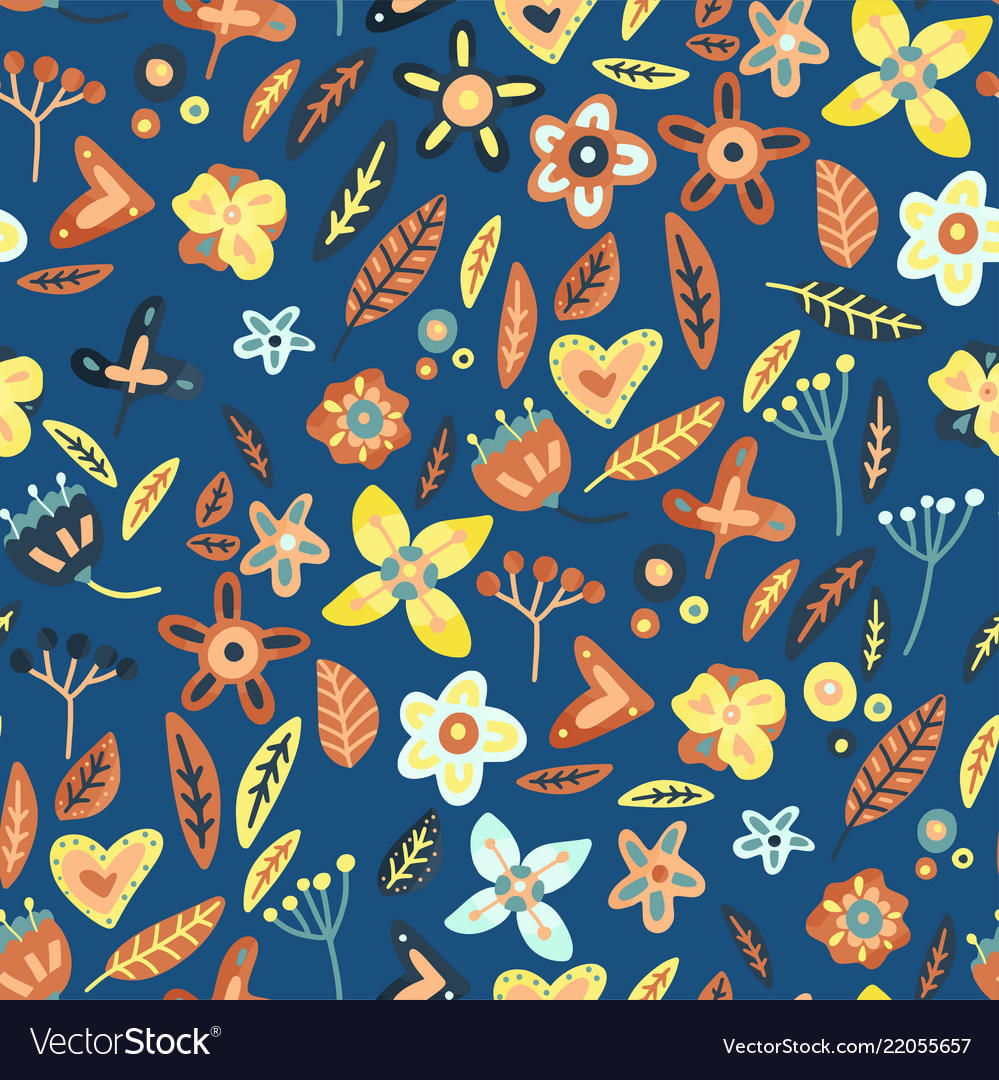 Floral seamless background in flat style
