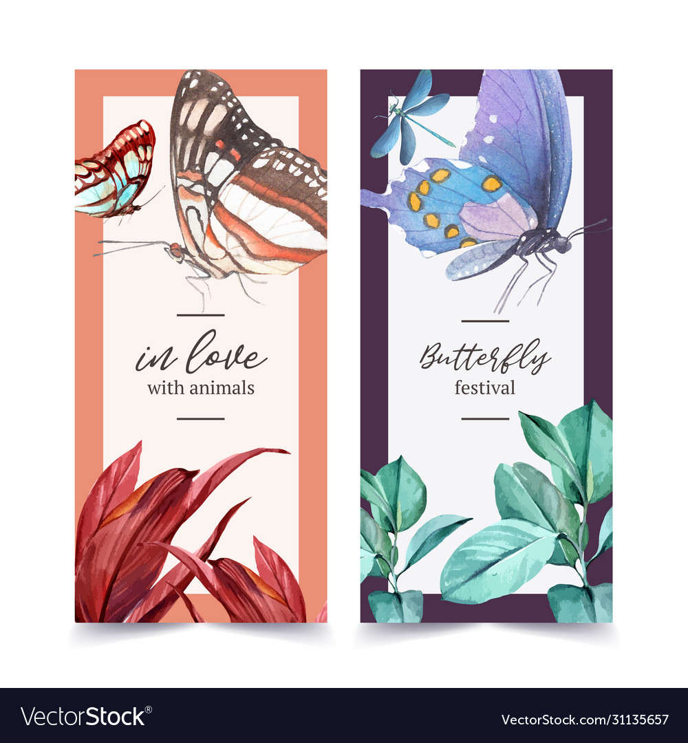 Insect and bird flyer design with butterfly