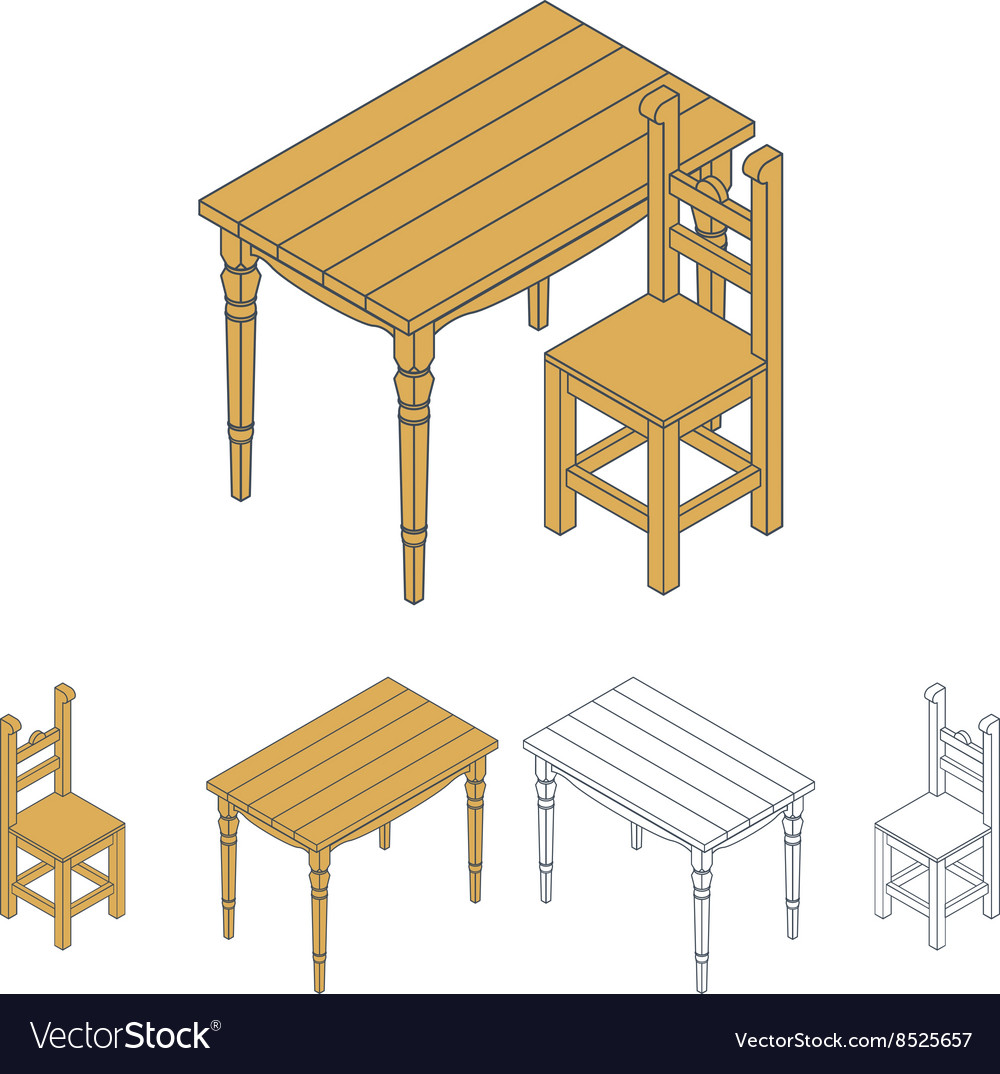 Isometric wooden furniture