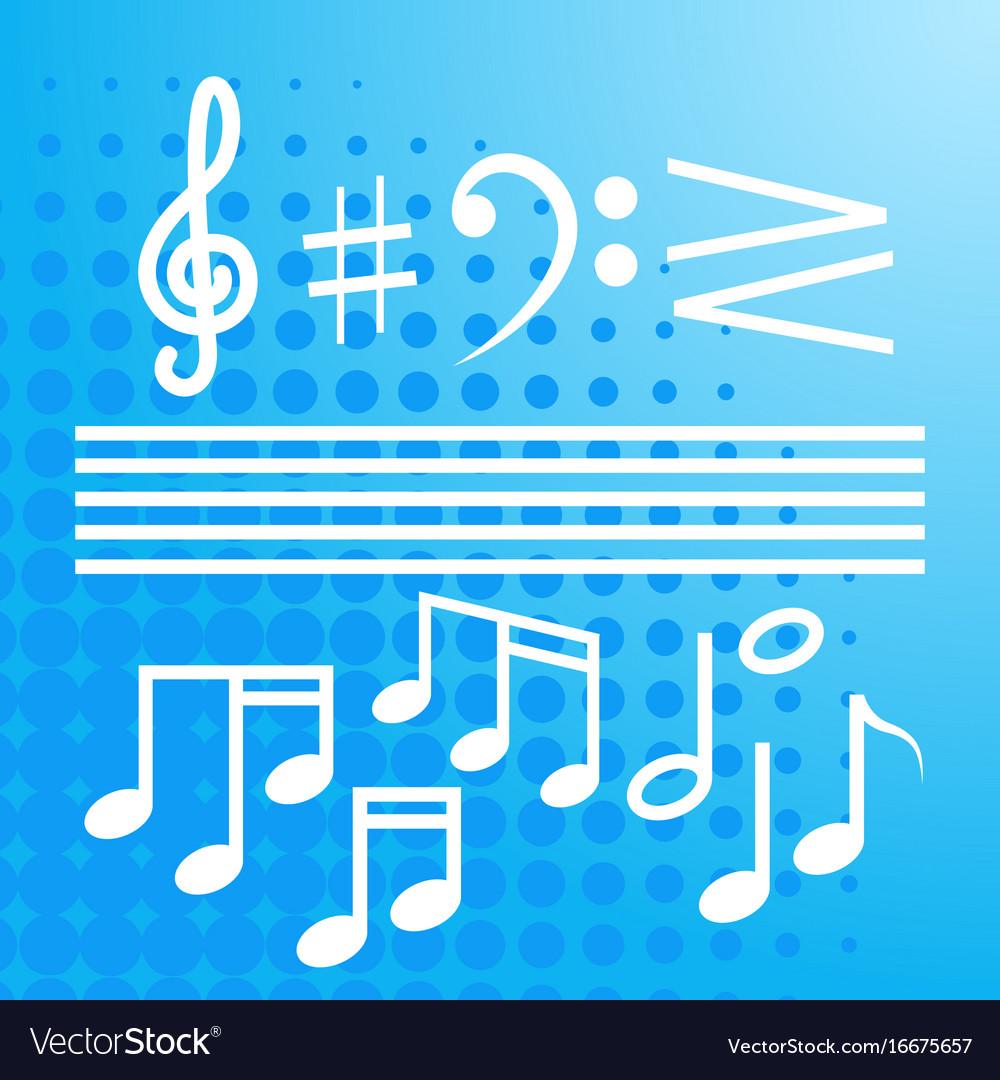 Notes set music concert banner colorful modern