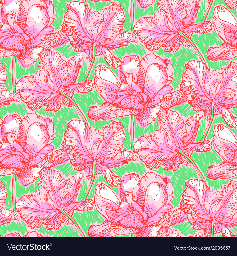 Pattern with field of bright peony flowers