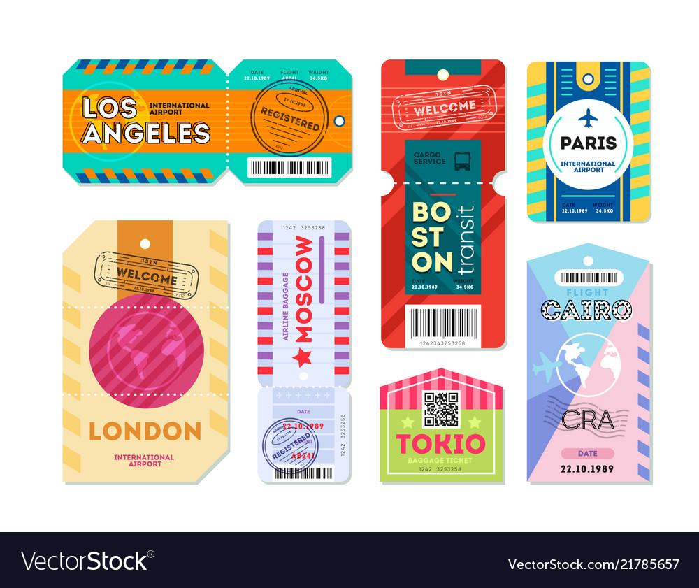 Set of luggage label tag registered