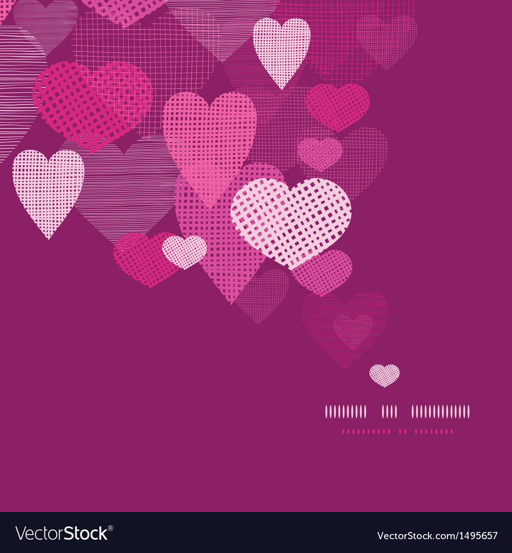 Textured Fabric Hearts Decor Pattern Background Vector Image