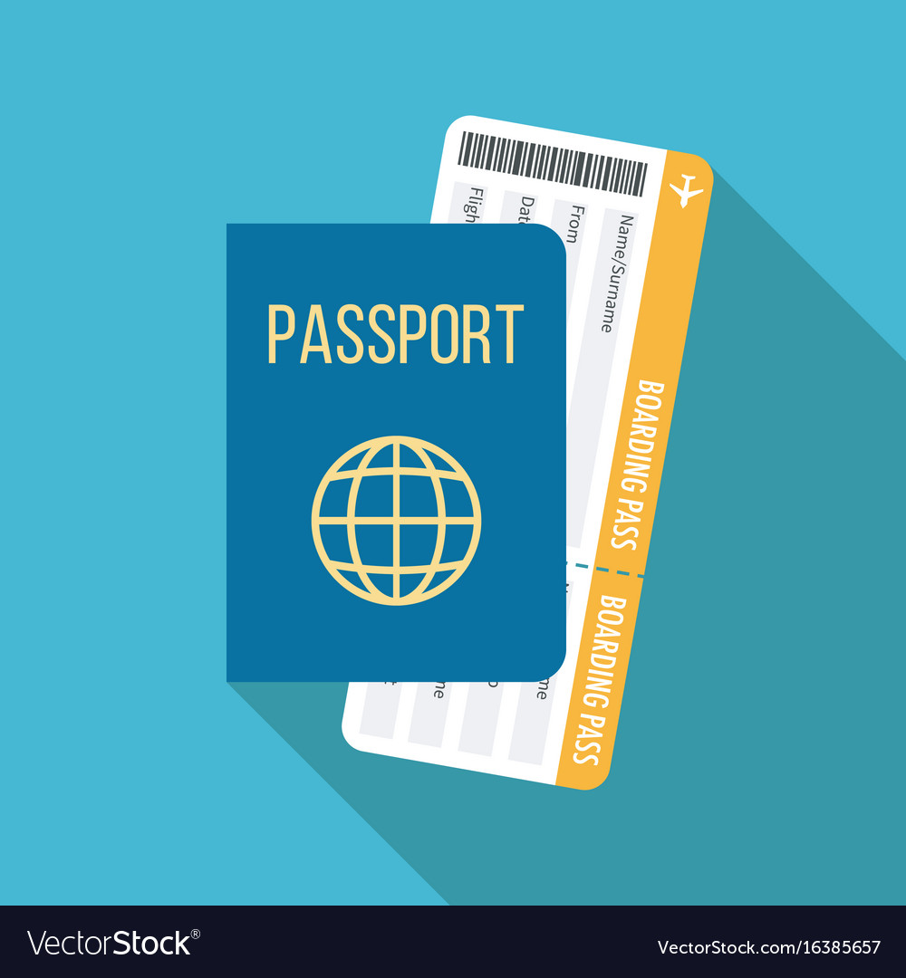 Travel icon passport and boarding pass