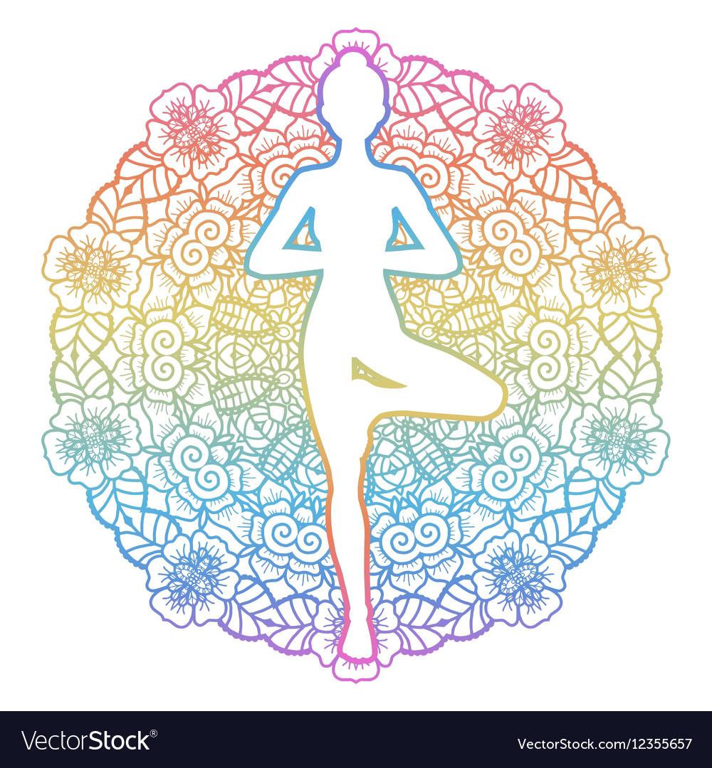 Women silhouette Yoga tree pose Vrikshasana