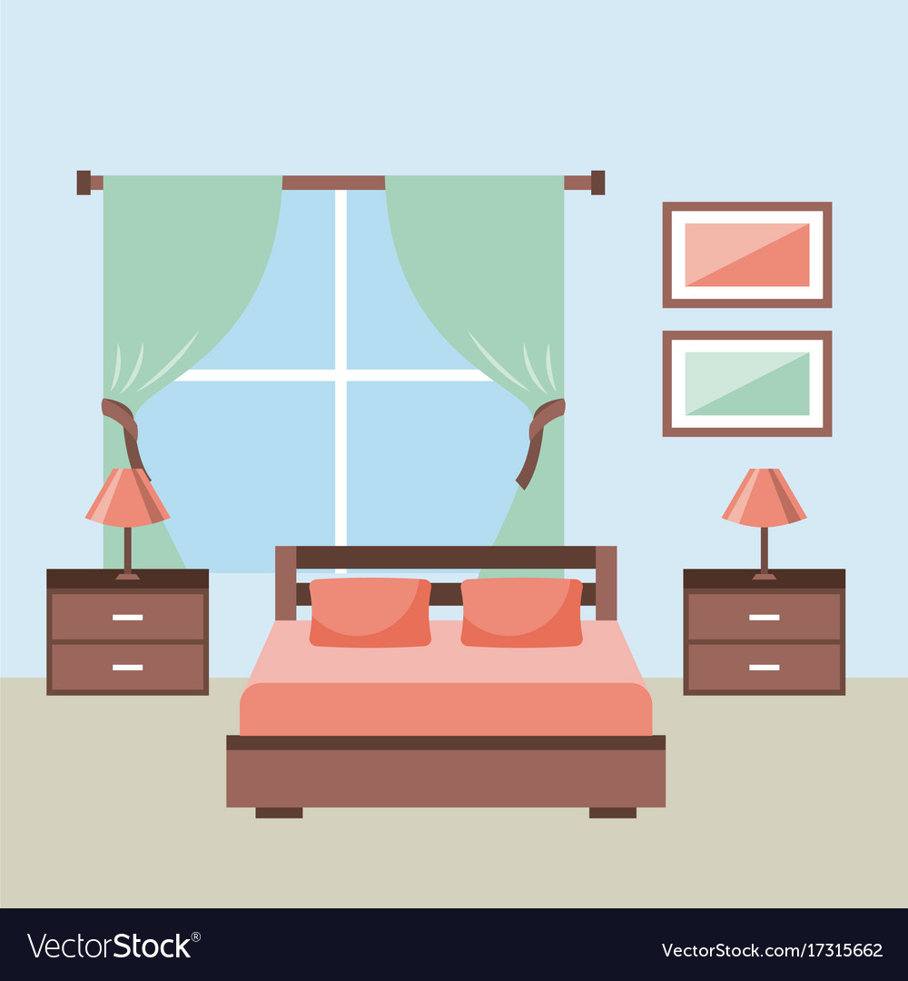 Bedroom interior with furniture bedside table lamp