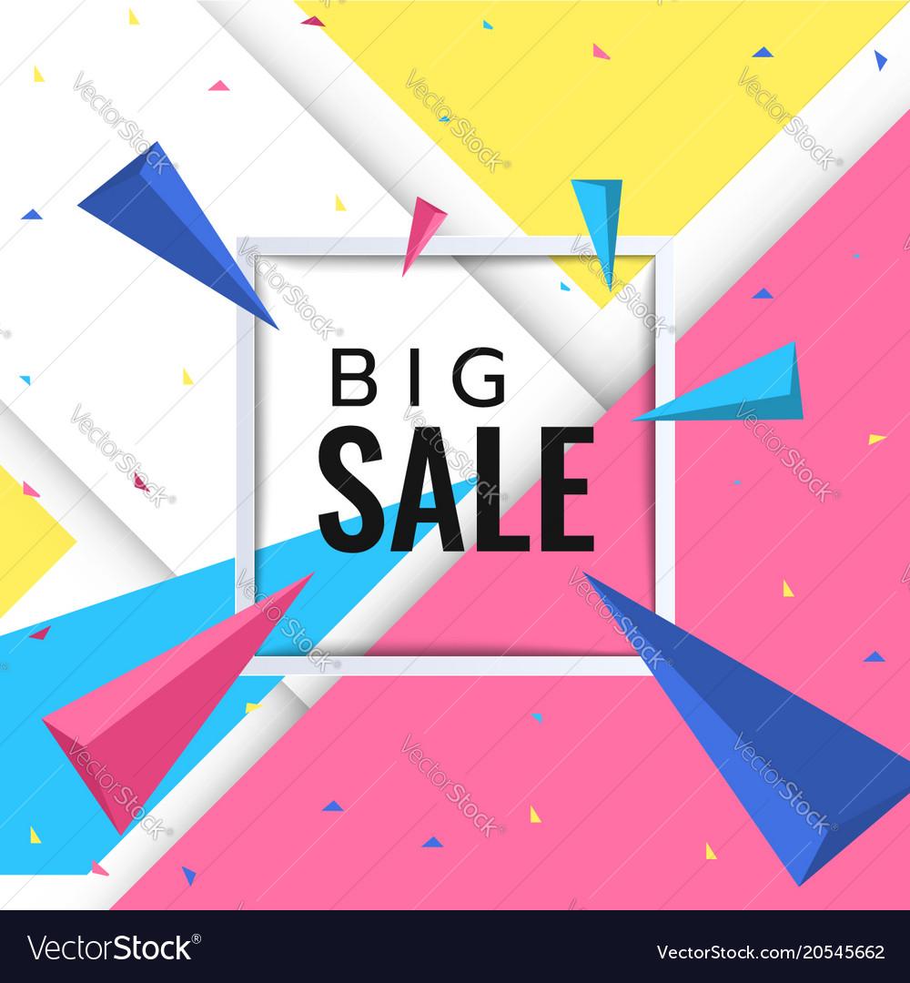 big sale paper banner template design royalty free vector