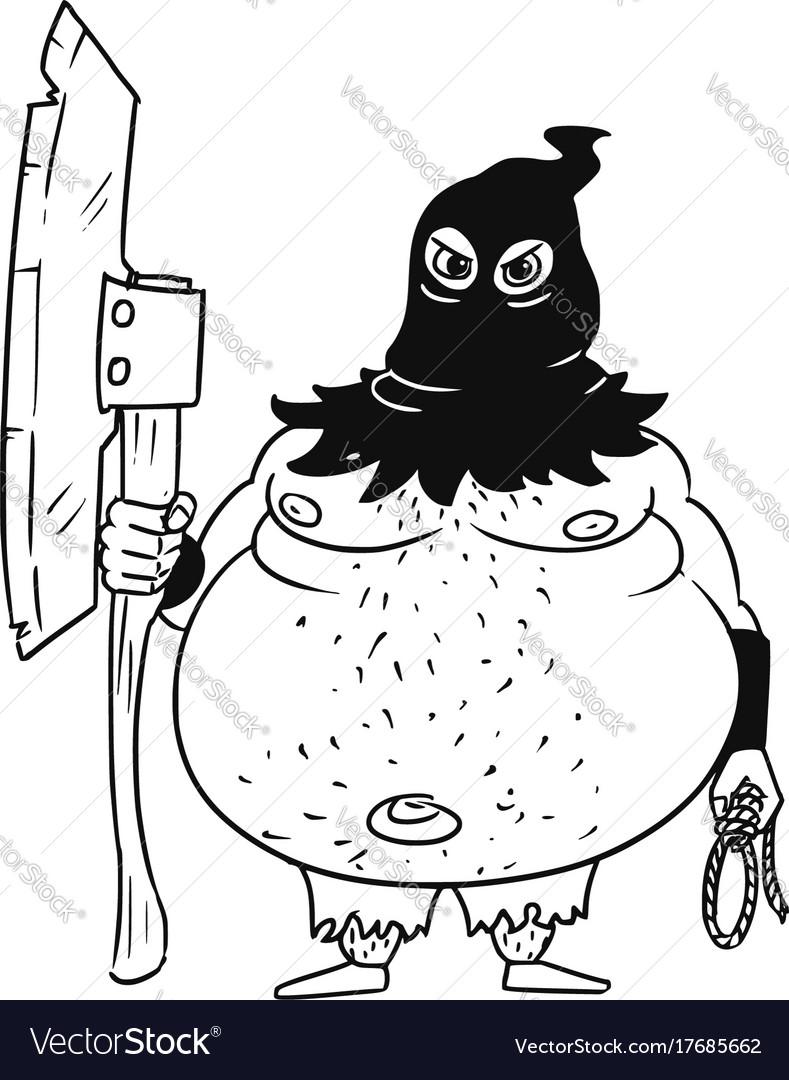 Cartoon medieval fantasy executioner hangman with