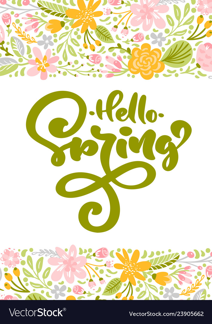 Flower greeting card with text hello spring