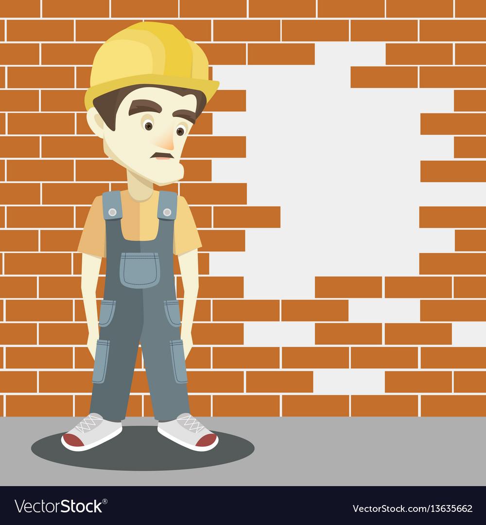 Friendly builder with helmet