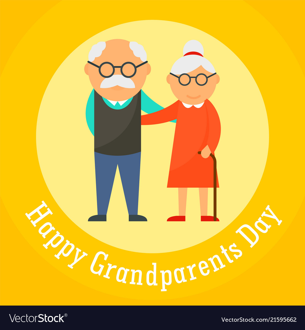 Happy grandparents day card background flat style