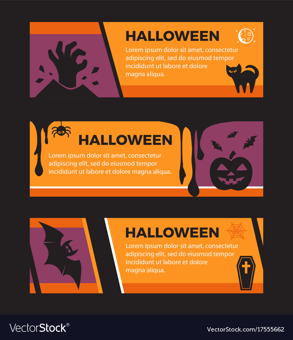 Happy halloween banners set of design elements