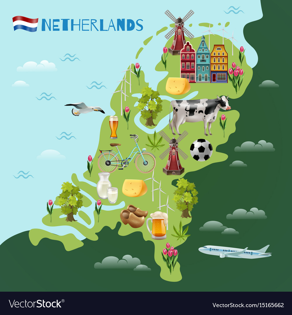 Holland cultural travel map poster royalty free vector image holland cultural travel map poster vector image gumiabroncs Choice Image