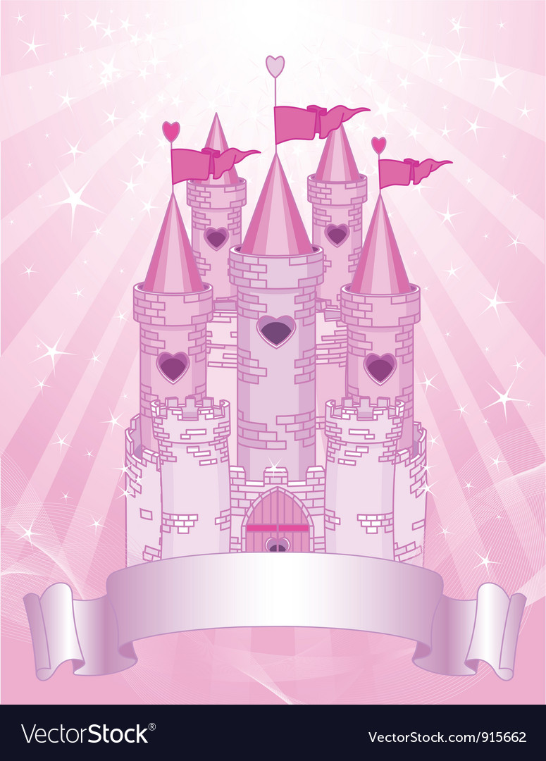 Pink Castle place card vector image