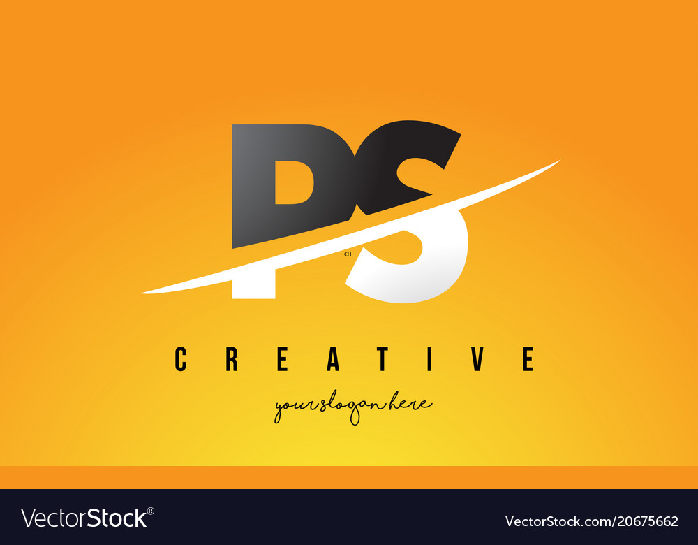 Ps p s letter modern logo design with yellow vector image thecheapjerseys Choice Image