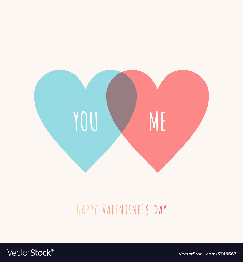 St Valentines day greeting card in flat style Blue