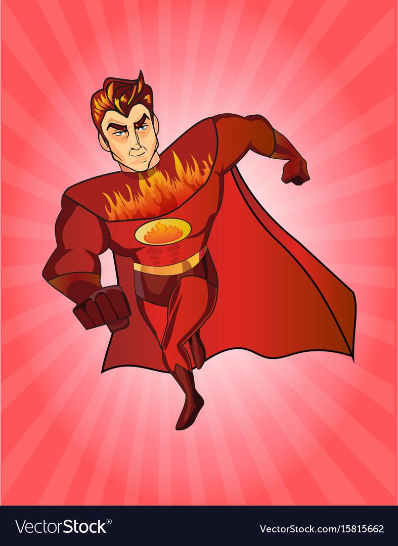 Super hero fireman cartoon retro style