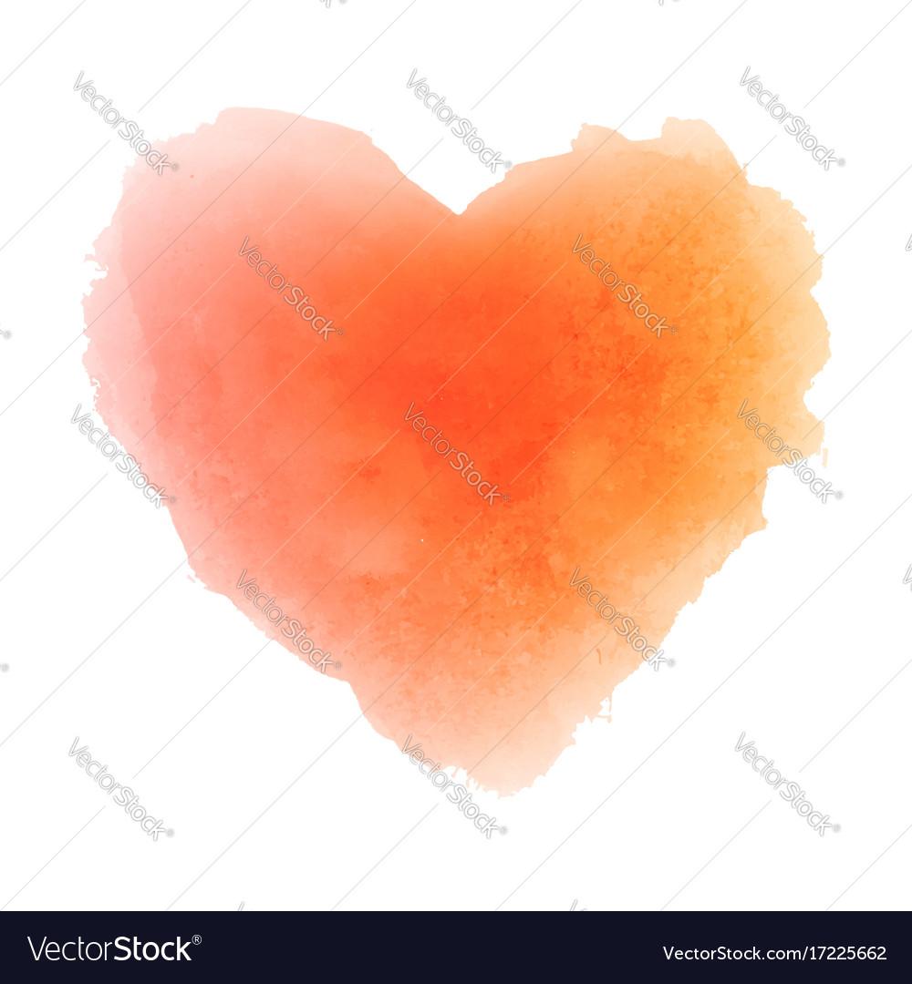 Watercolor orange hand drawn paper texture heart