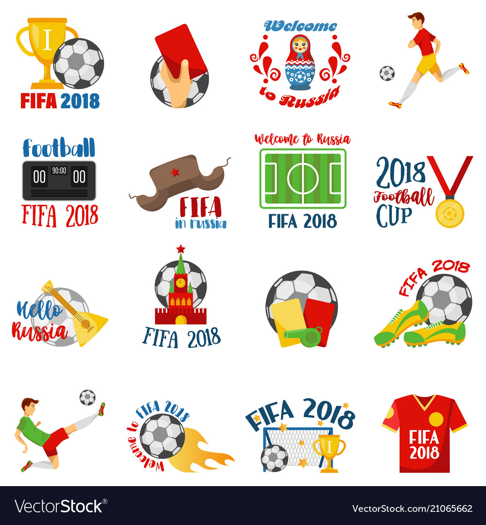 World football cup 2018 with football symbols