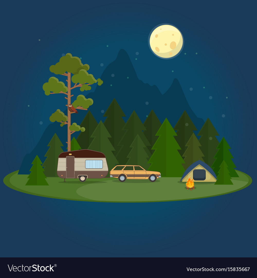 Camping night scene with caravan tent and campfire vector image
