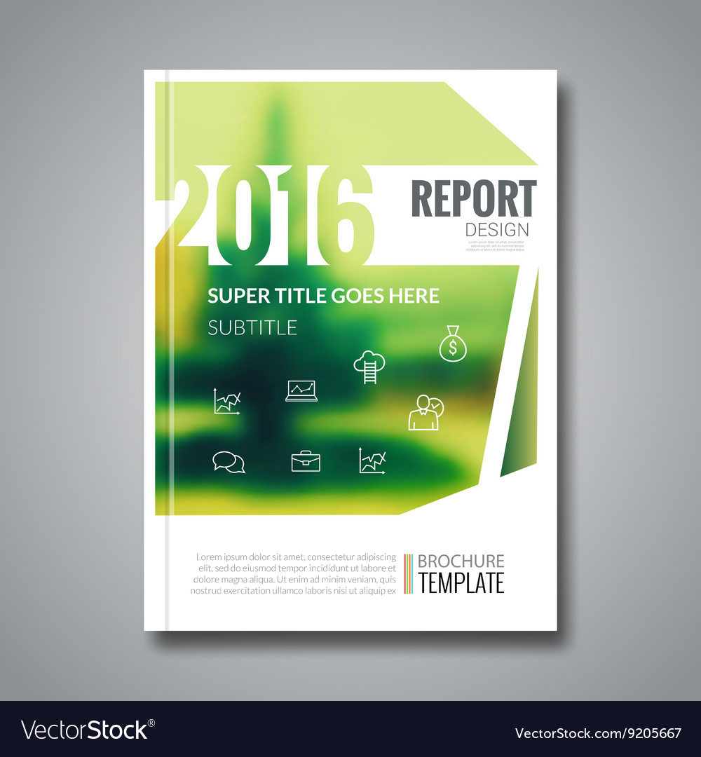Cover Report Flyer Template Christmas Tree Blur Vector Image