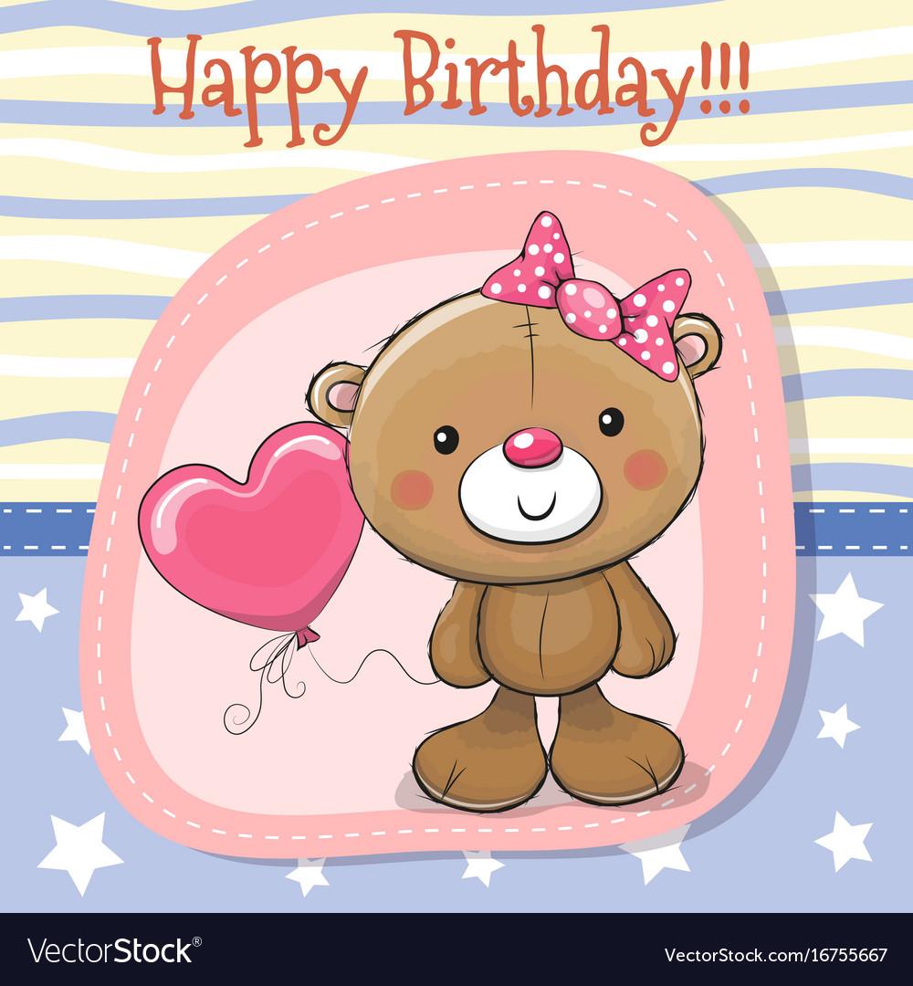 Cute teddy bear girl with balloon