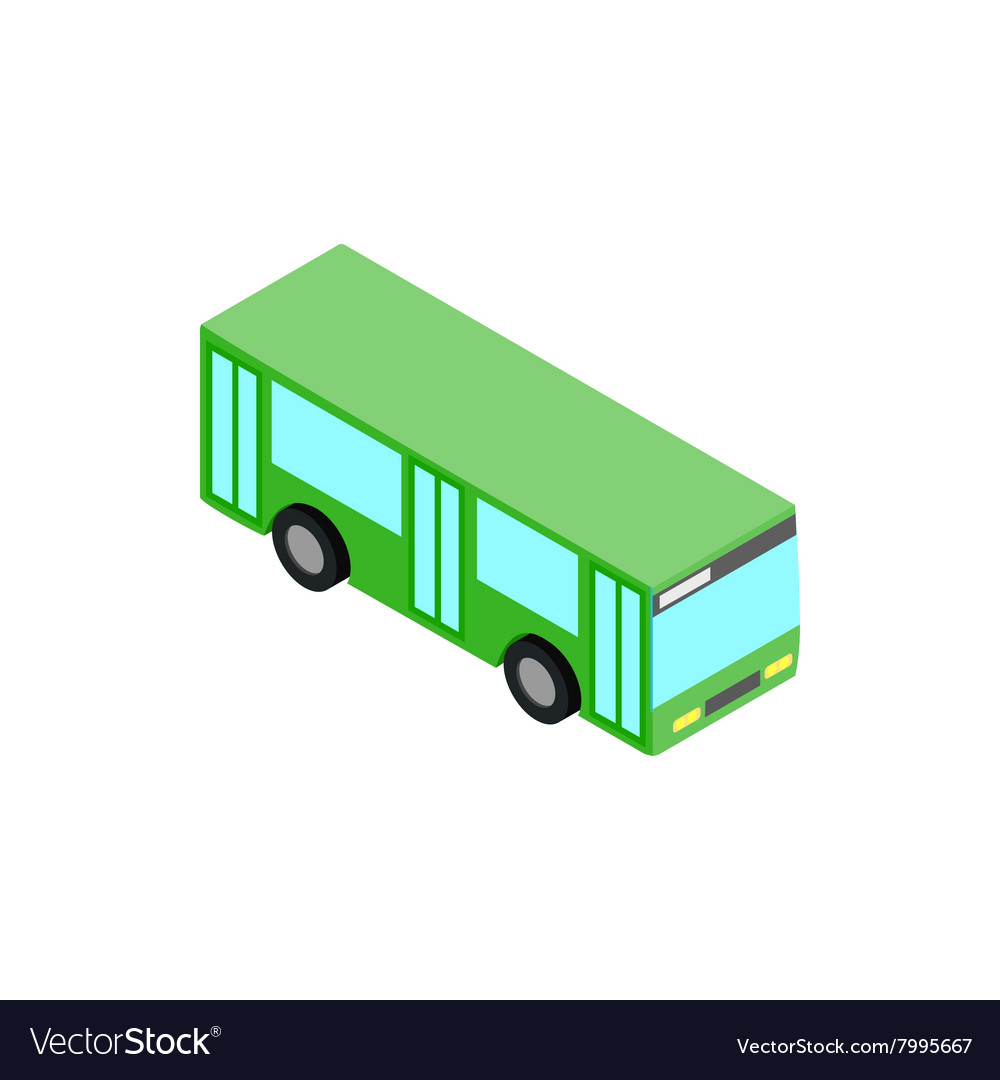 Green bus icon isometric 3d style