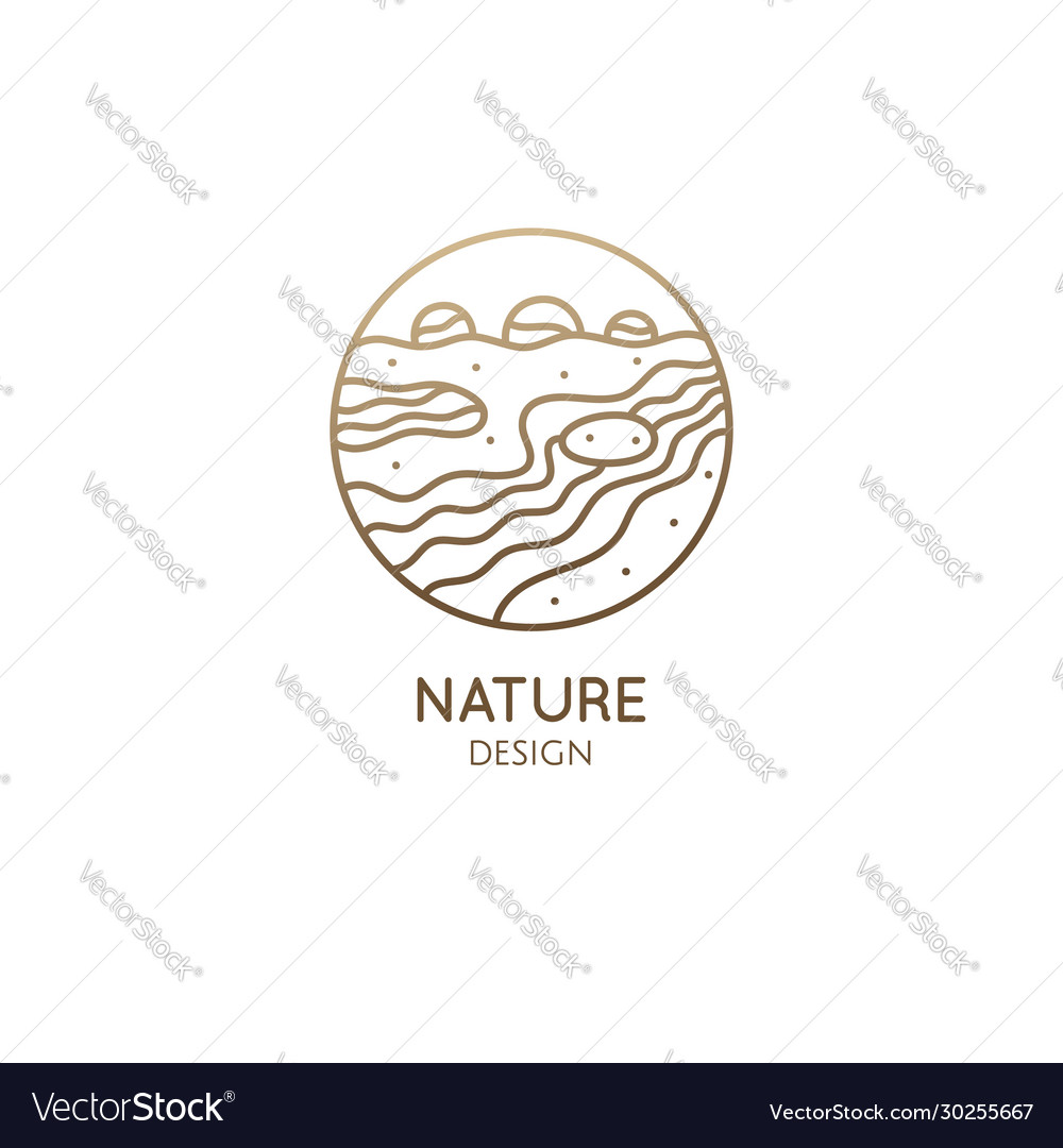 Logo nature in linear style outline