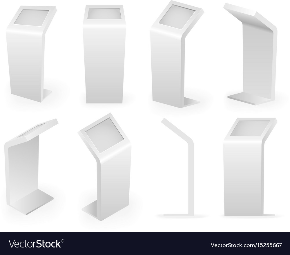 Payment kiosks terminal isolated icons isometric