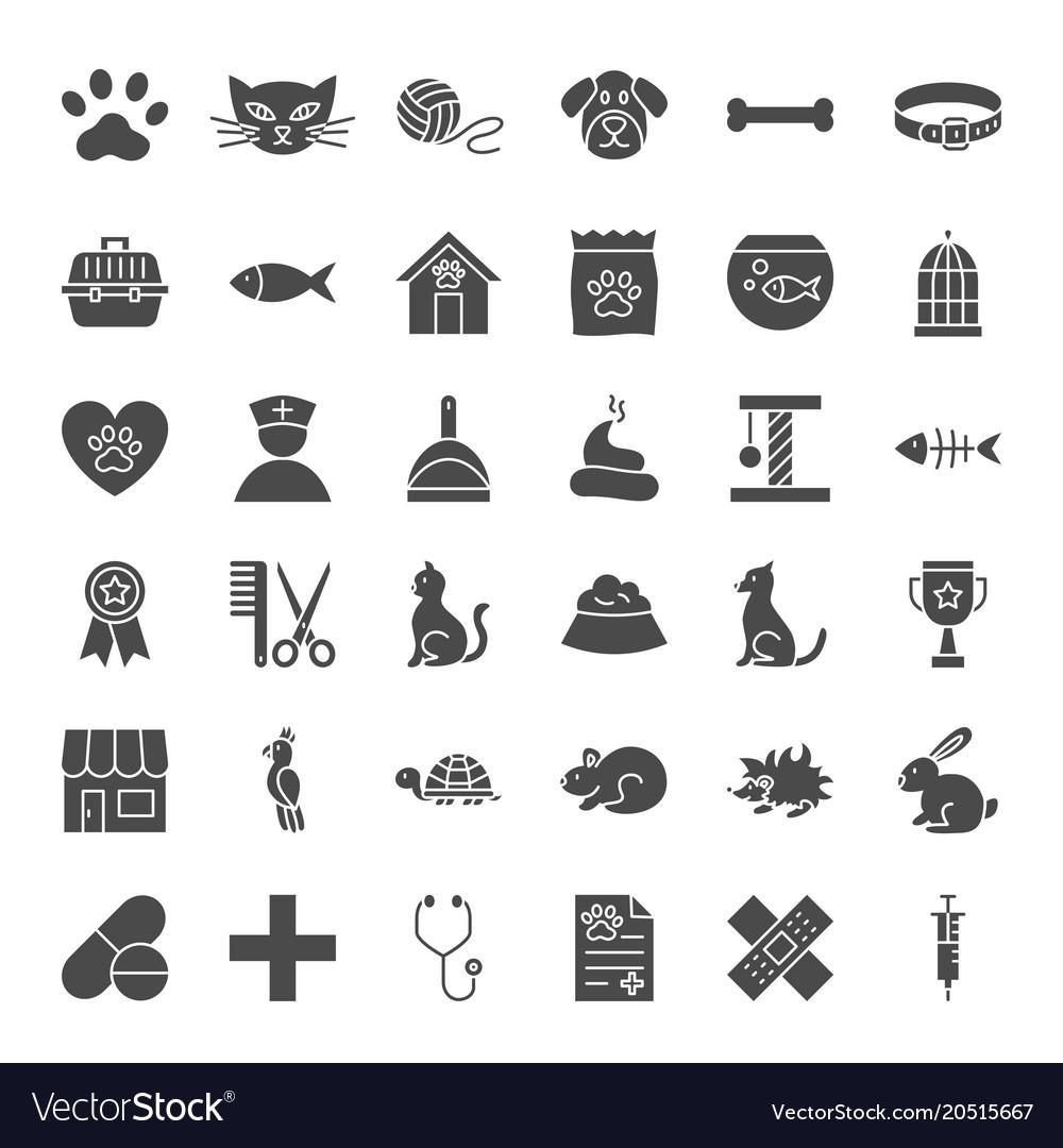 Pet shop solid web icons