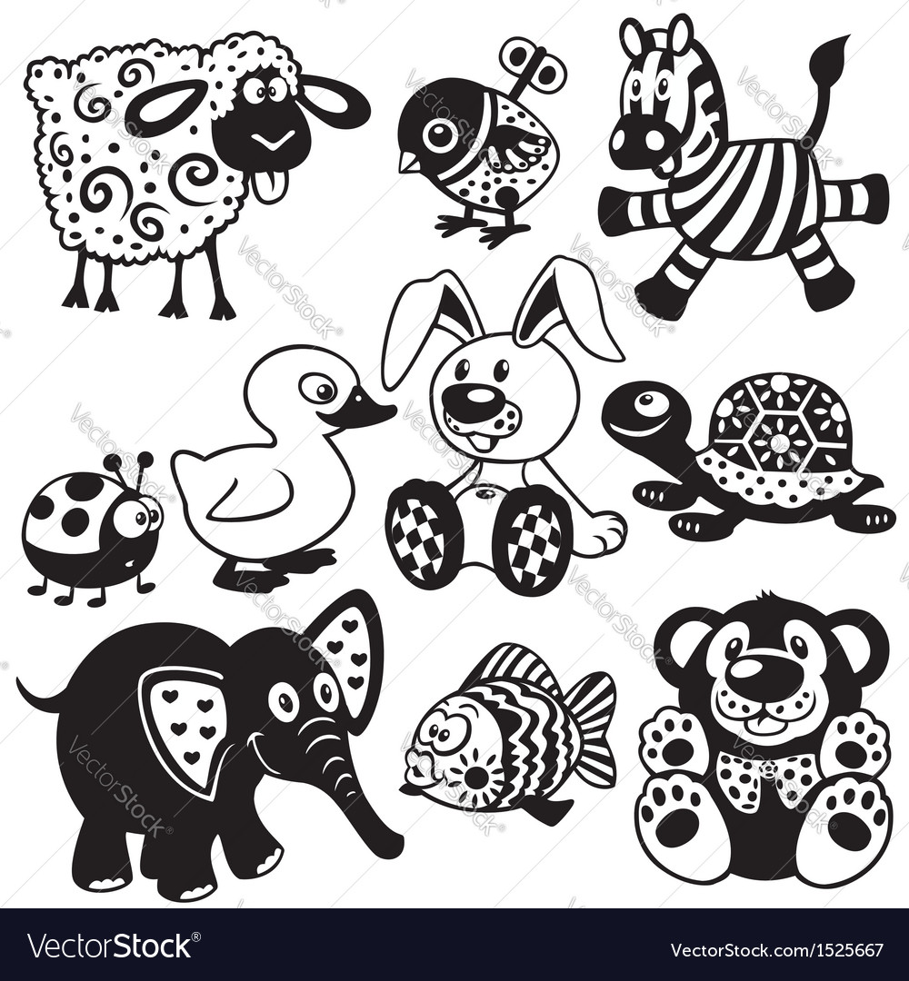 Set of black white pictures for kids