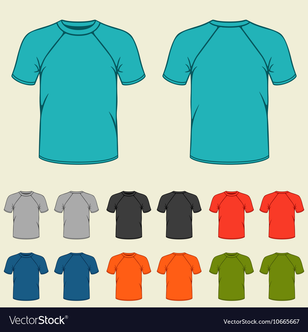 Set Of Colored T Shirts Templates For Men Vector Image