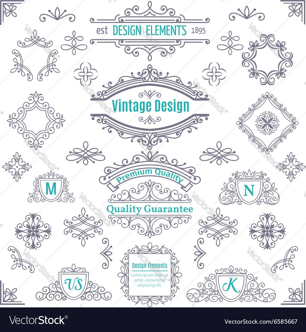 Set of Vintage Line Art Calligraphic vector image