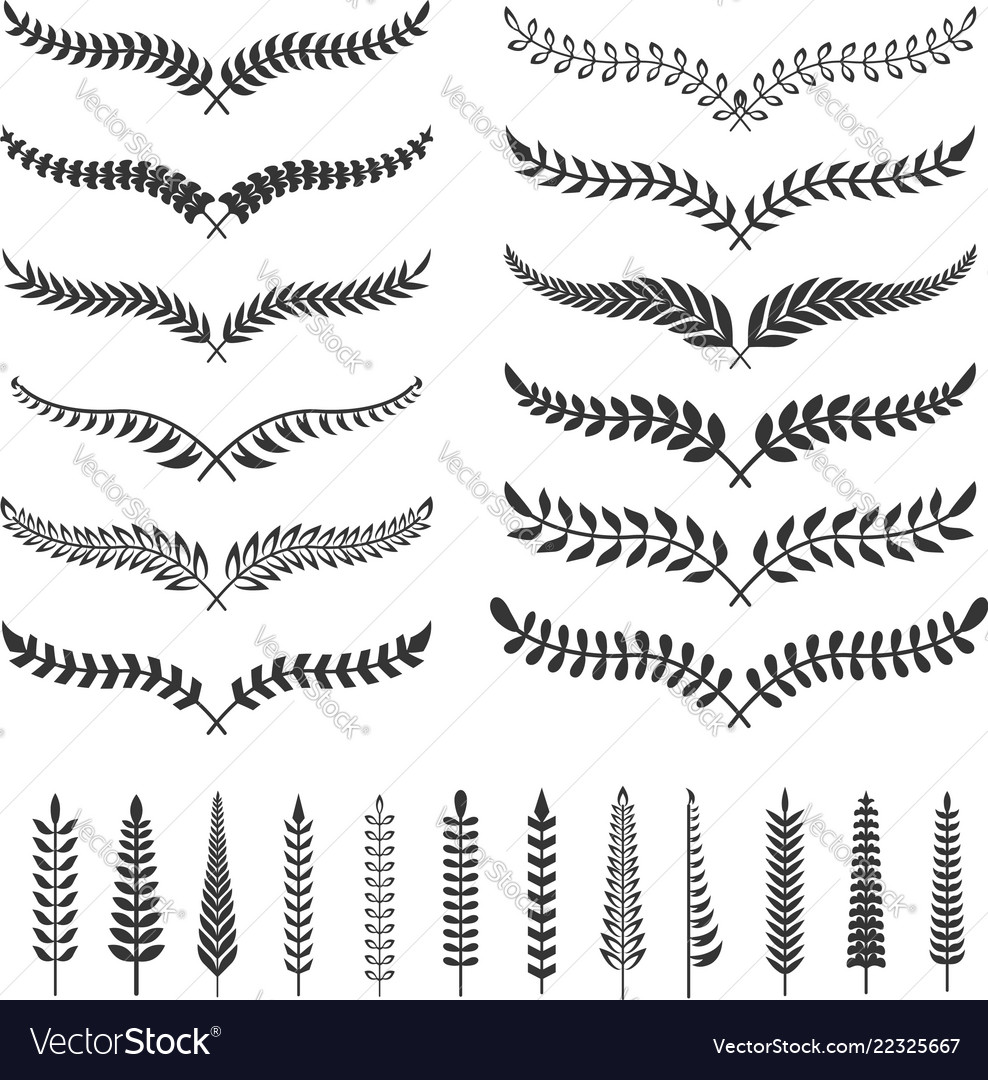 Set of wreath design element for poster sign