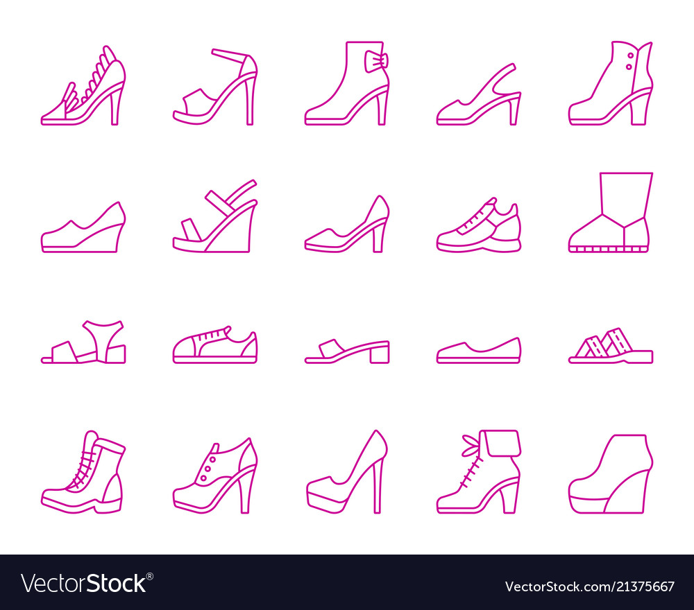 Shoes simple ultraviolet line icons set