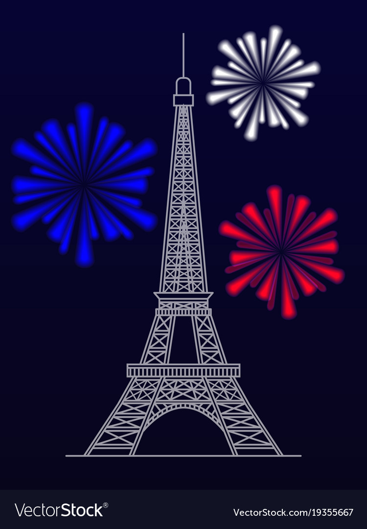 silhouette of the eiffel tower and fireworks vector image
