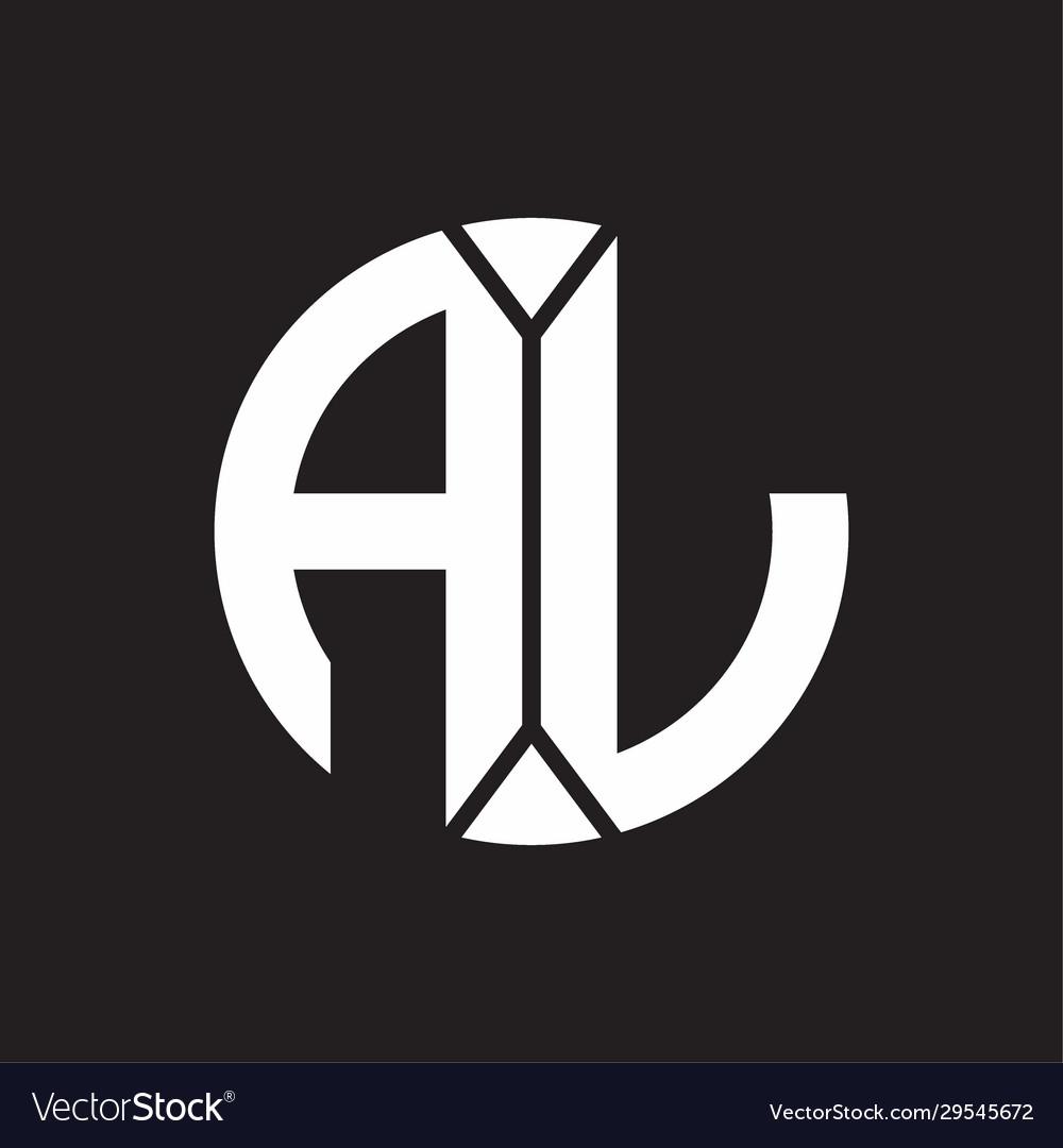 Al Logo Monogram With Piece Circle Ribbon Style Vector Image