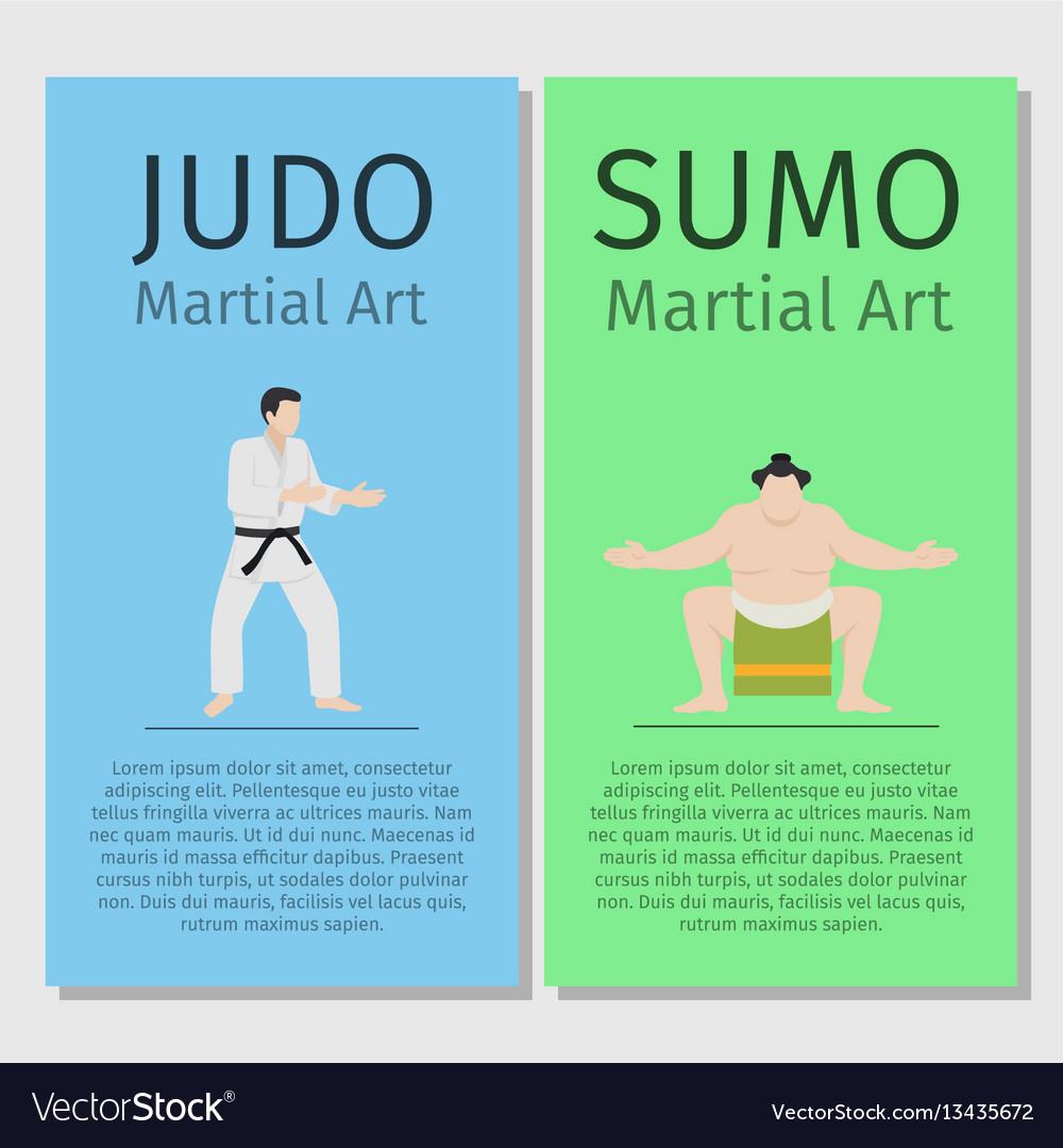 Asian martial arts judo and sumo