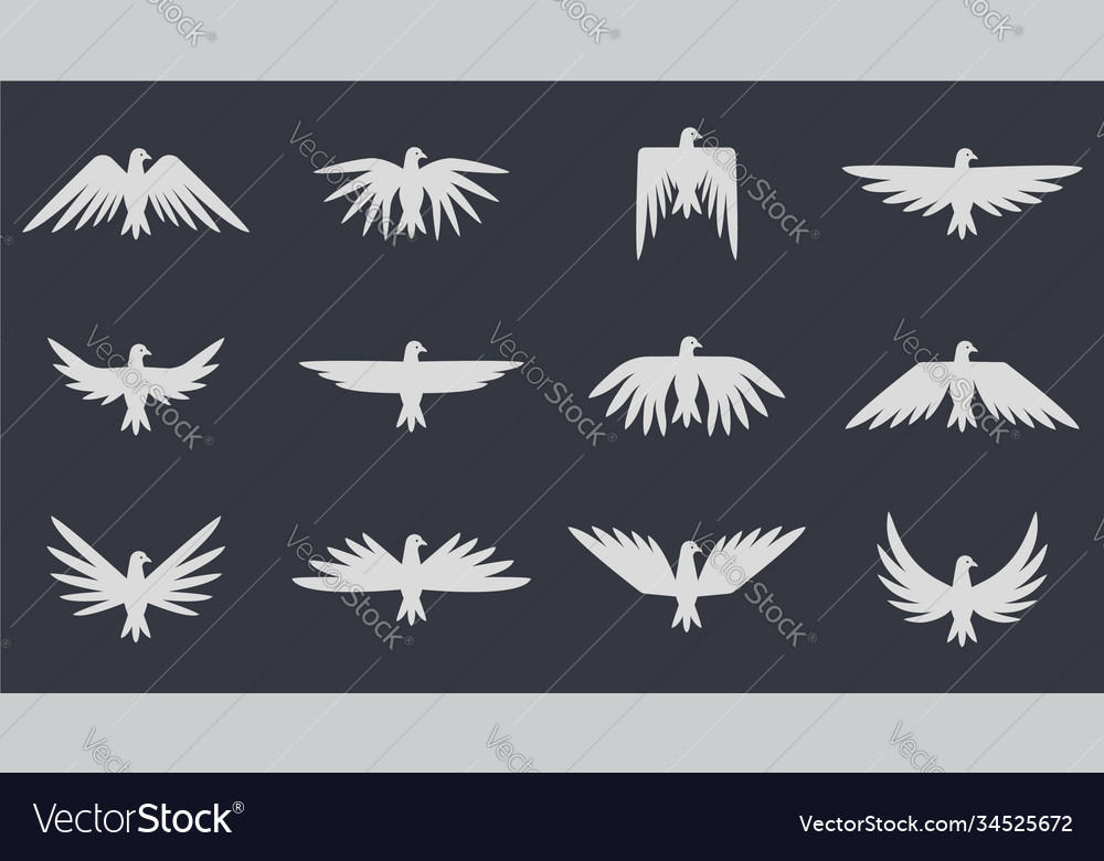 Dove flying set pigeon isolated icon template for