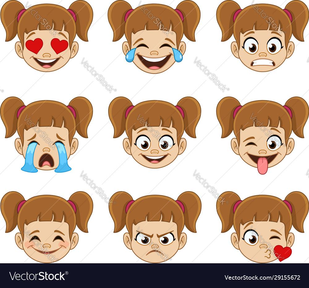 Girl face emoji expressions
