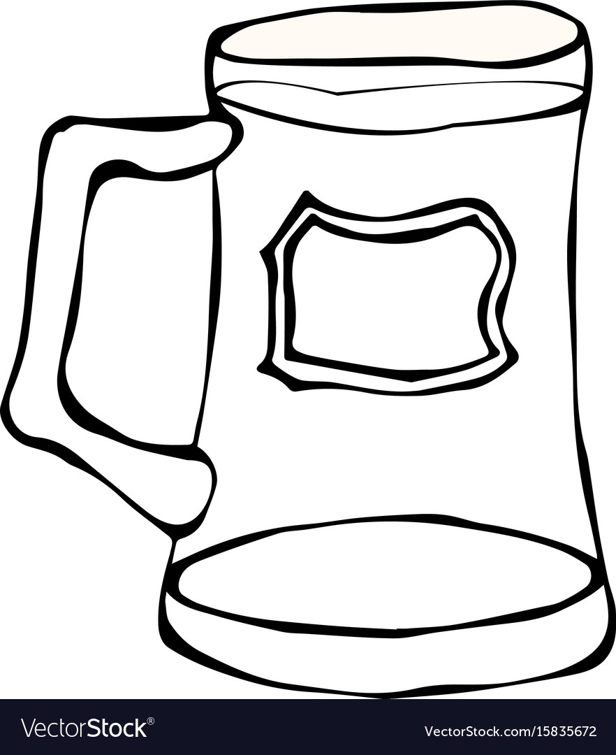 Glass of beer doodle style isolated on white vector image