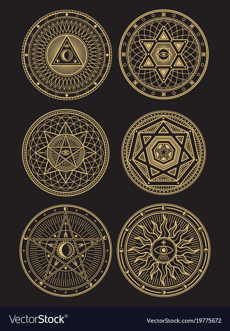 Golden occult mystic spiritual esoteric