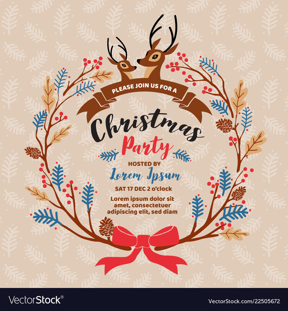Merry Christmas Party Invitation Card Design
