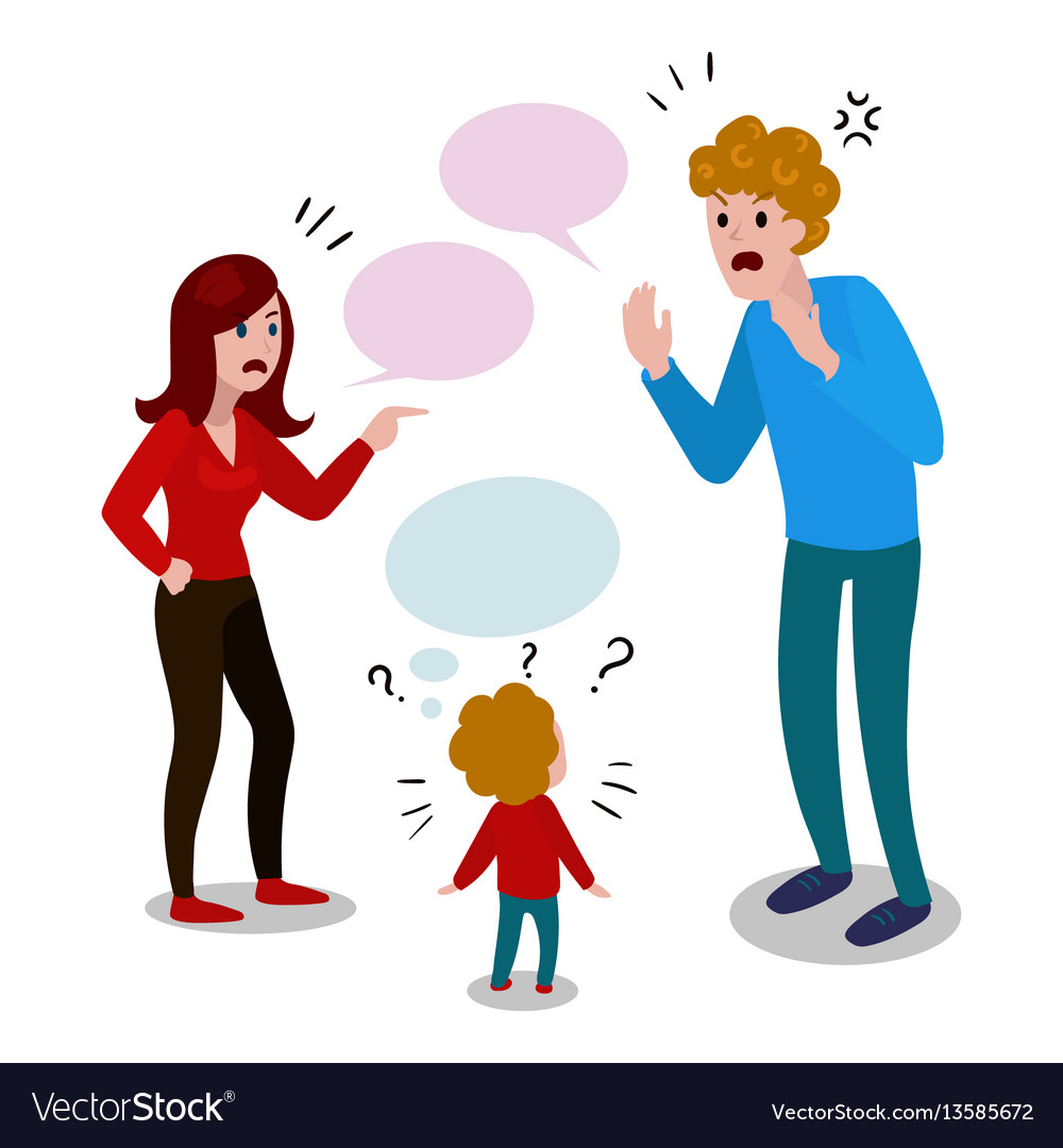 Parents quarrel with child cartoon Royalty Free Vector Image