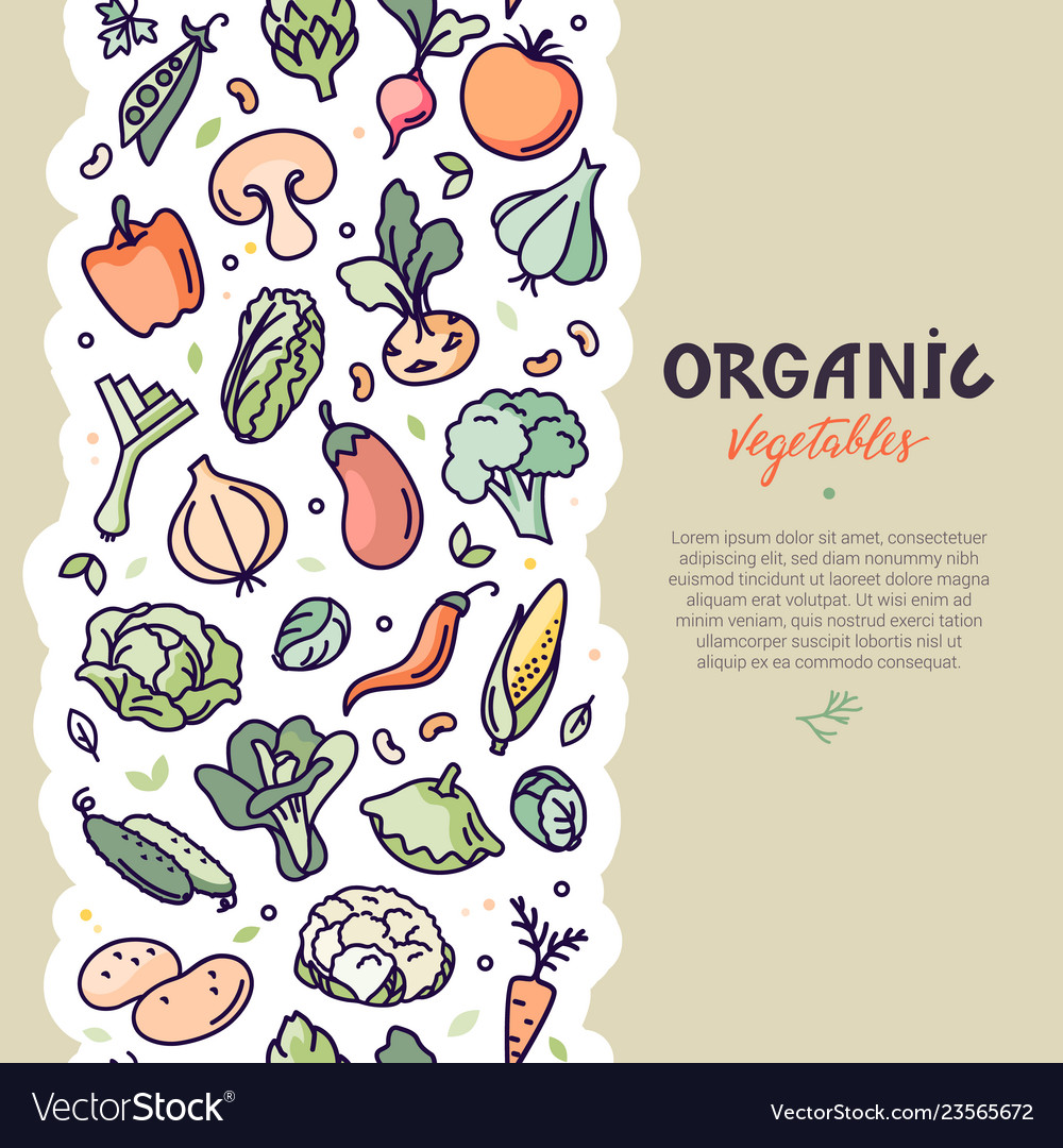 Seamless vertical vegan pattern with vegetables