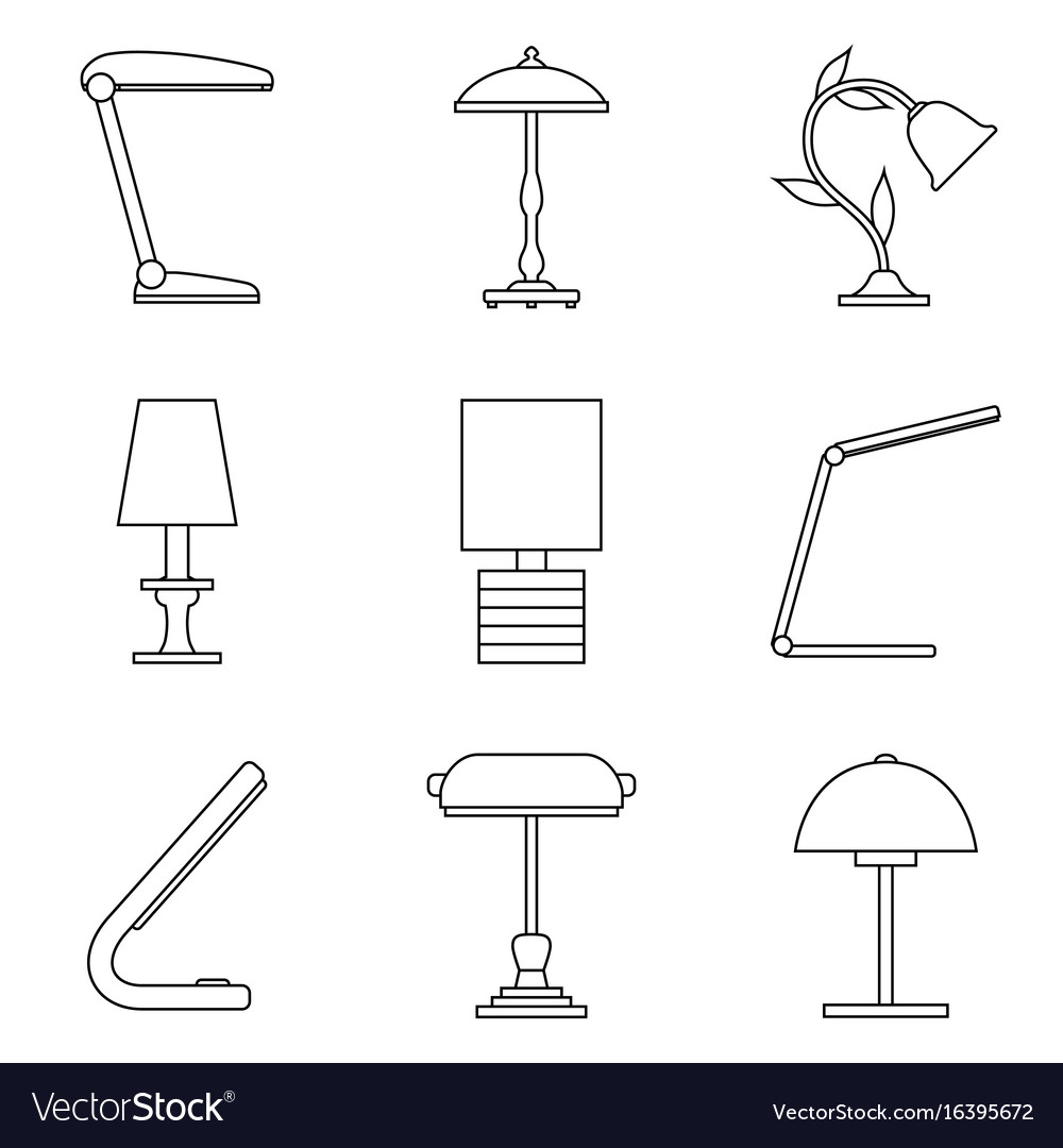 Set of table lamp icon