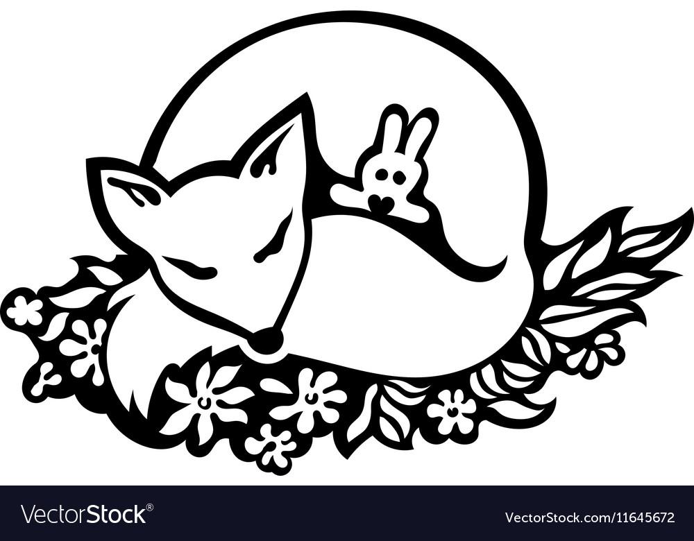 Sleeping fox drawing vector image