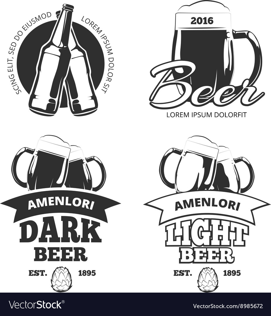 Vintage craft beer brewery emblems labels vector image