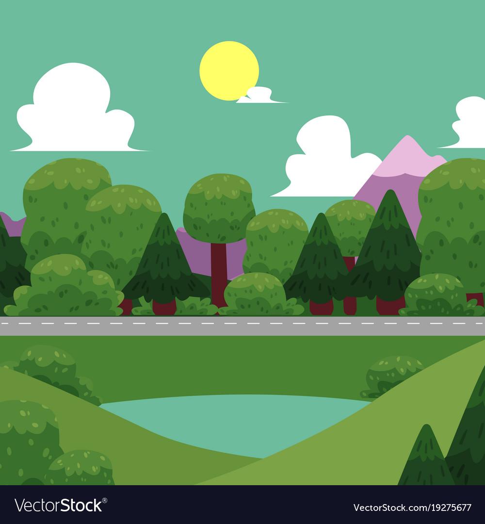 Flat of nature landscape