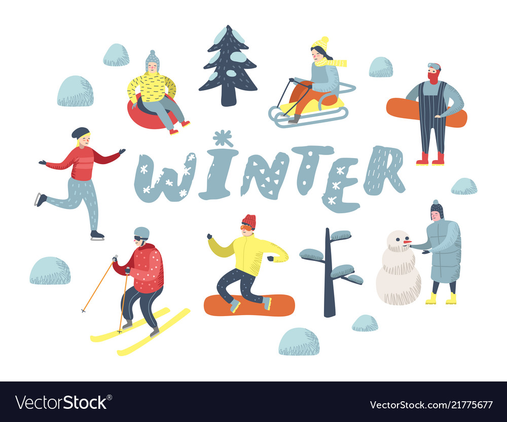 Flat people characters on vacation winter sports